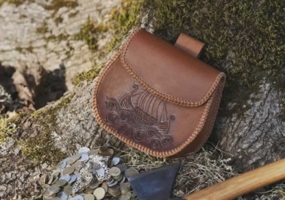 Belt pouch with a viking ship