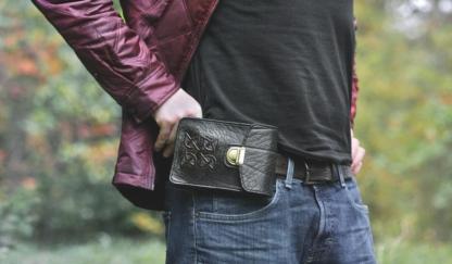 Black leather belt bag with celtic cross