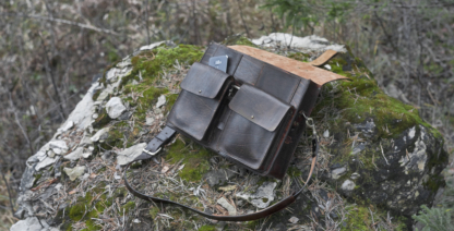Briefcase with many pockets in dark brown