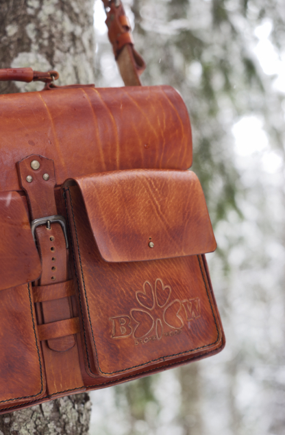 Leather briefcase with company logo