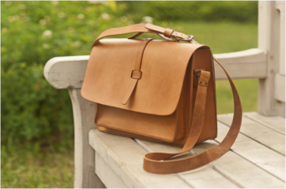 Capacious leather briefcase for women