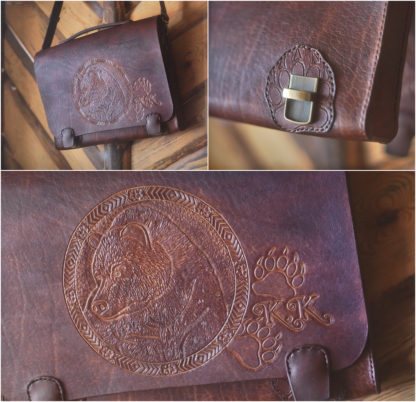 Leather breifcase with a bear