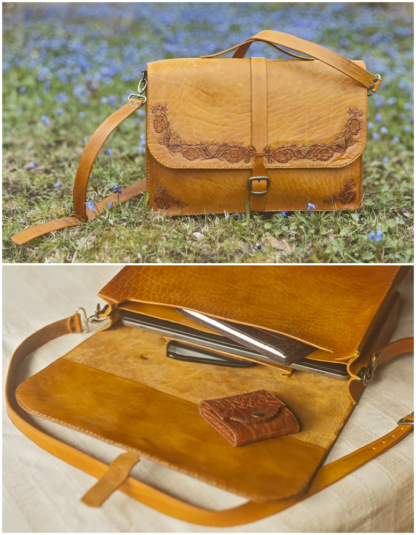 Womens yellow leather briefcase with floral carvings