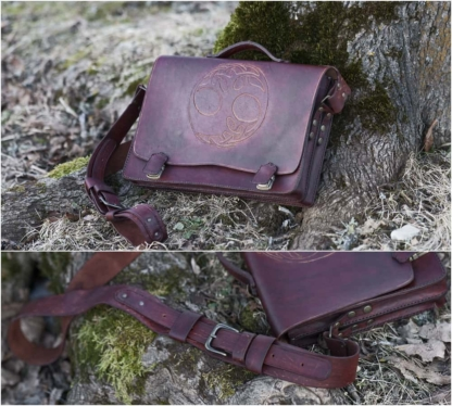 Leather briefcase with Yggdrasil