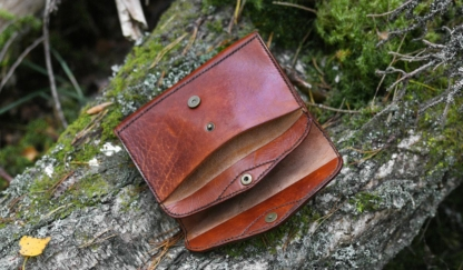 Light brown leather purse inside