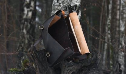 Dark brown leather messenger bag