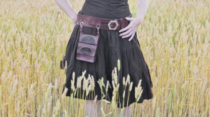Leather belt and bag set