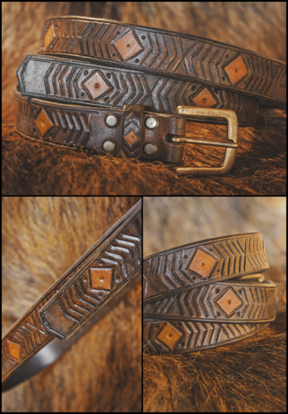 """Leather belt """"Snake"""". This leather """"Snake"""" has a hand painted pattern in two colors, metal buckle and comes with two belt loops (like our belts always do)."""