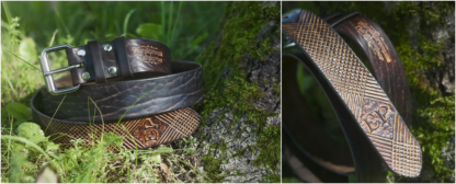Leather belt with waffle pattern and initials