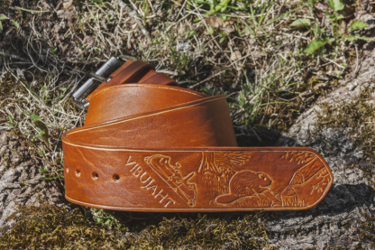 Light brown leather belt for a bowhunter