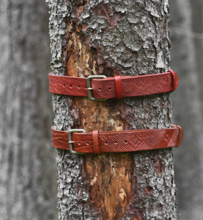 Brown hand carved leather belts