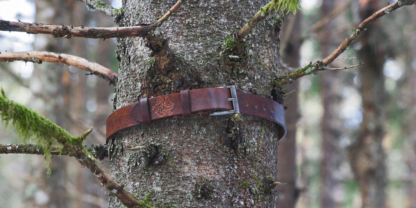 Leather belt with dragon image