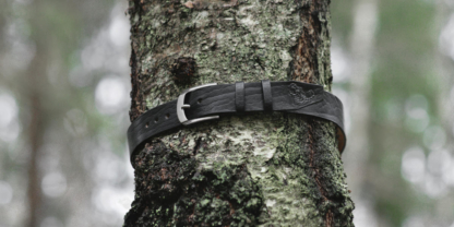 Leather belt with scorpion image