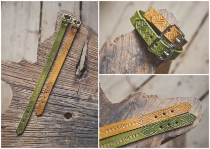 Yellow and Green leather collar with a pattern, name and phone number, handmade