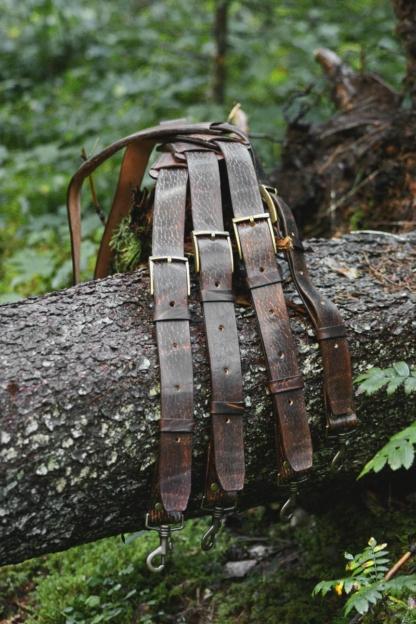 Leather shoulder straps