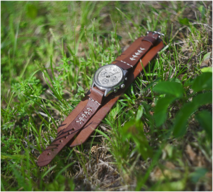 Natural leather watch strap with sewings done by light thread. Watch band is handmade in Wanakuramus's leather workshop