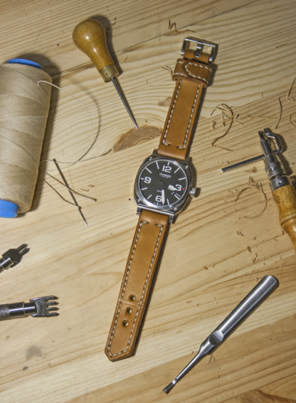 Yellow leather watch strap