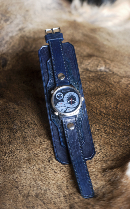 Layered blue leather watch strap