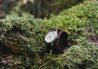 Dark brown leather watch strap