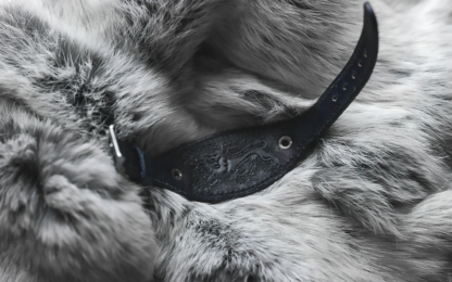 Black leather watch strap with lion