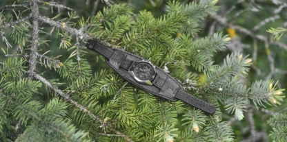 Black leather watch strap with wolf image
