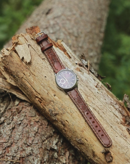 Carved brown leather watch strap