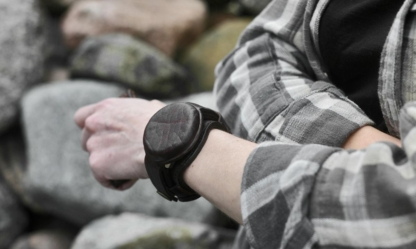 Leather watch strap with a cap