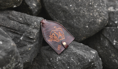 Leather key case with bull image