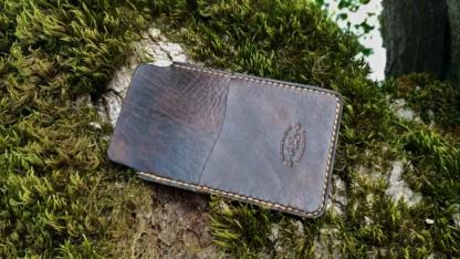 Dark brown leather phone sleeve