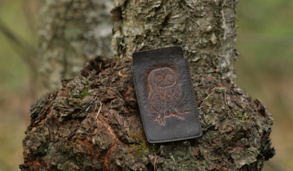 Leather phone sleeve with an owl image