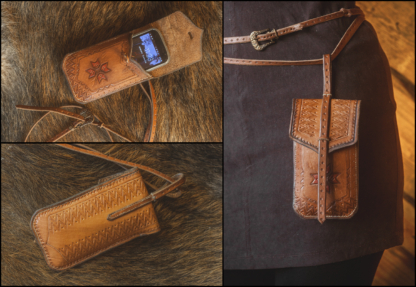 Leather phone bag with Eight Pointed Star
