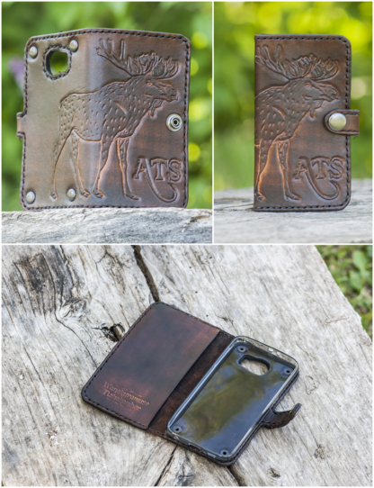Leather phone covers with a moose