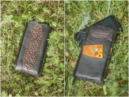 Leather phone sleeve with hand carved Seto pattern