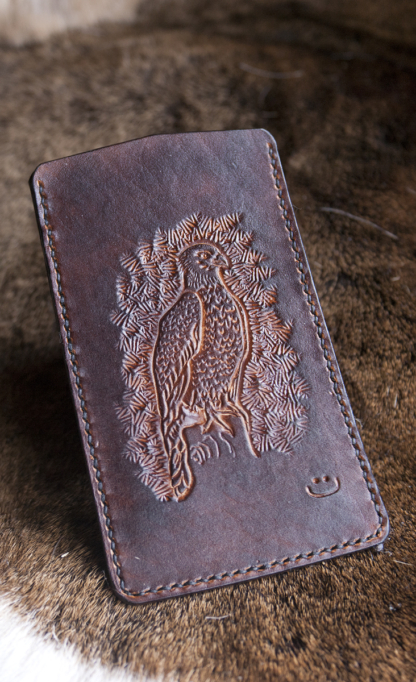 Leather phone sleeve with eagle
