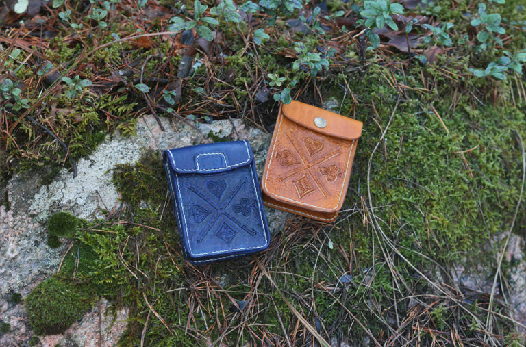 Leather cases for playing cards