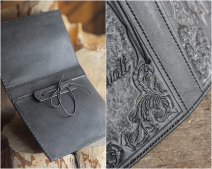 Leather book covers with floral ornamets
