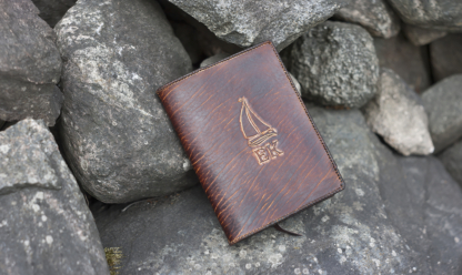 Leather book covers with laced edges