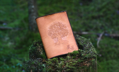 Leather book covers with hand carved oak tree