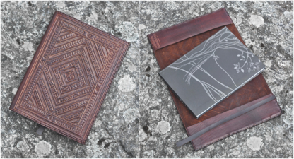 Leather notebook covers with carvings