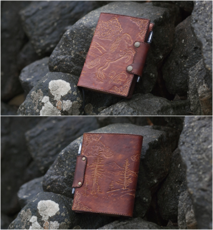 Leather notebook covers with a horse