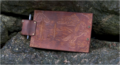 Leather notebook covers covers with a horse