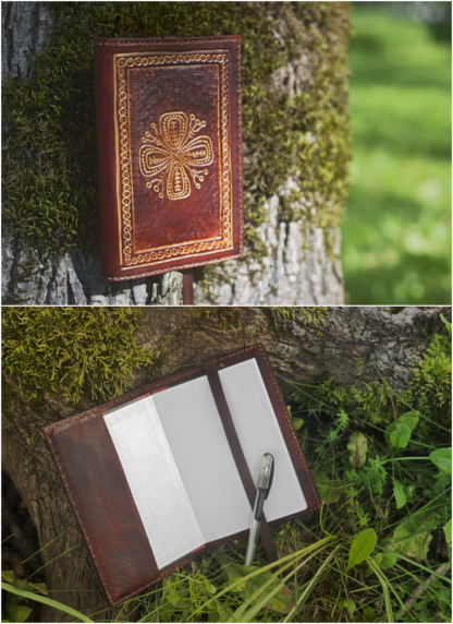 Leather notebook covers with Life Tree Blossom