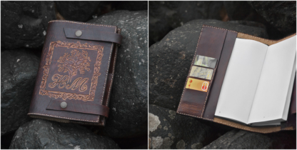 Leather covers for a notebook with initials and a tree