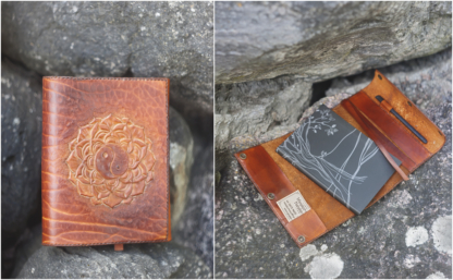 Leather notebook covers with yin yang and mandala