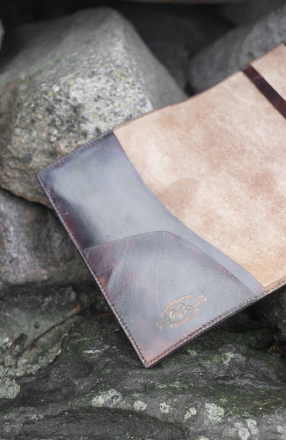 Leather notebook covers with hand carved butterfly, inside the front cover
