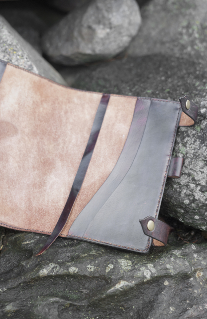 Leather notebook covers with hand carved butterfly, bookmark and additional pockets