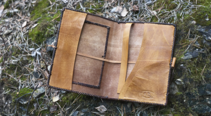 Laced leather notebook covers, inside.