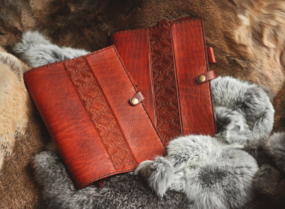 Leather notebook covers in light brown