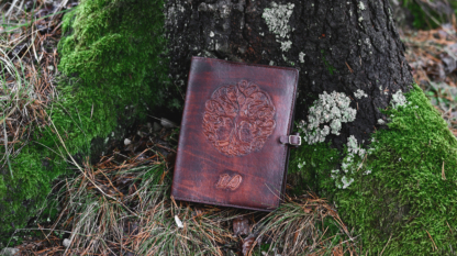 Leather notebook covers with hand carved tree image