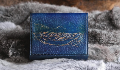 Blue leather covers with mountain lake image